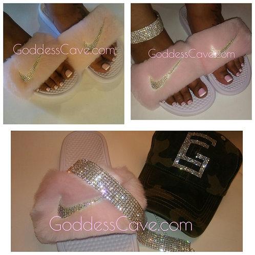 Baby Pink Fur Nike / AB Crystals