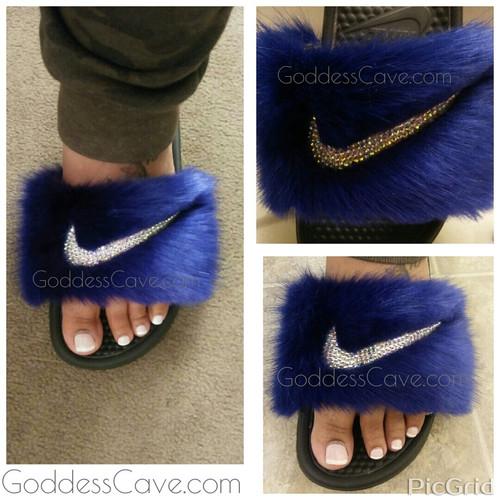 blue nike fur slides