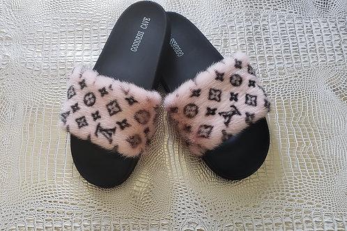 Pink Mink Slides - LV Print