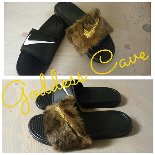 Brown Fur Nike Slides