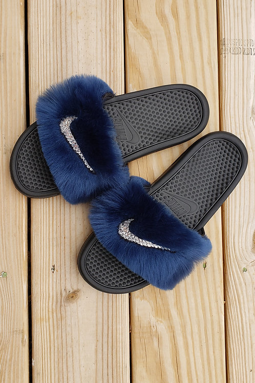 Fur Nike Slides w/Crystals