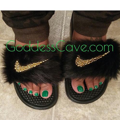 Black Fur Nike Slides