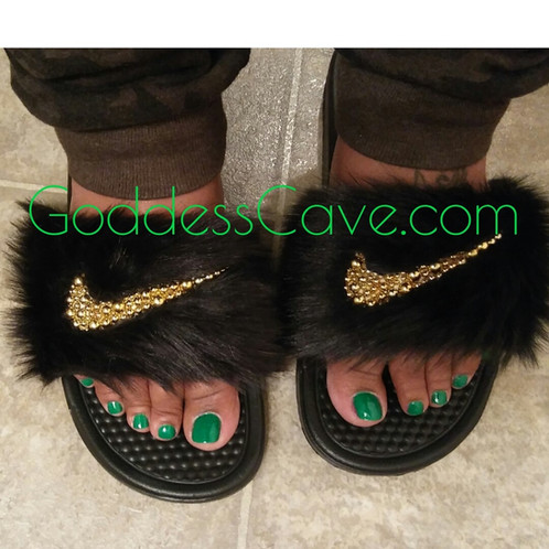 gucci slides nike. black fur nike slides gucci