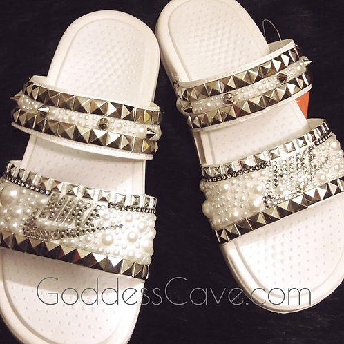White Rockstar Nike Duo Slides