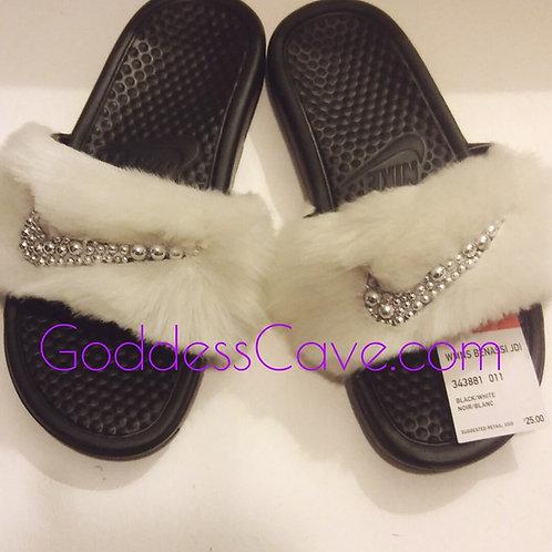 White Fur Nike Slides
