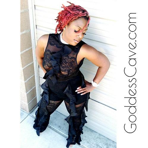 'Yasmin' Ruffled Lace Jumpsuit
