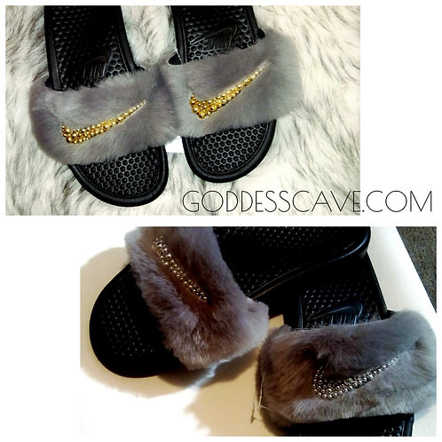 Gray Nike Fur Slides