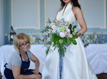 A styled wedding photo shoot in blue hues ...behind the scenes