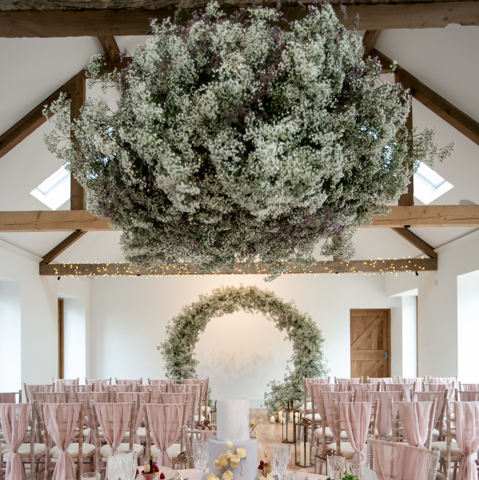 Wedding Foral Arch and Gypsophila Ceiling Decorations