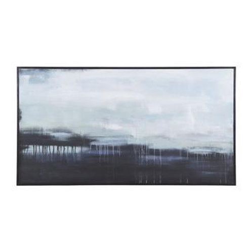 Gray w/ Blue Abstract Canvas Art