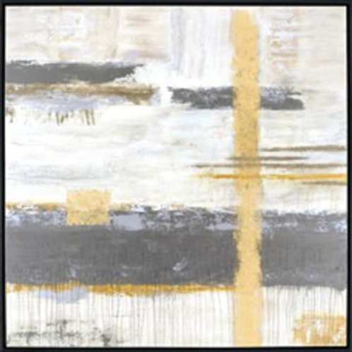 Gray and Yellow Abstract Framed Art