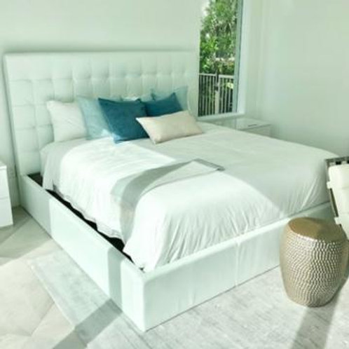 White Tufted Leather King Bed