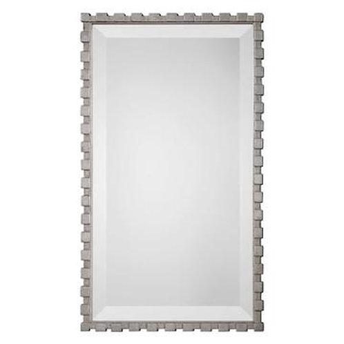 Silver Geometric Framed Mirror
