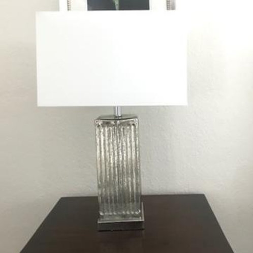 Silver Crystal Table Lamp Set