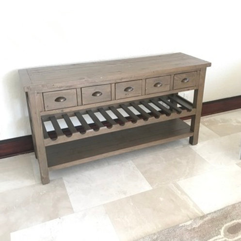 WOOD 5 DRAWER CONSOLE