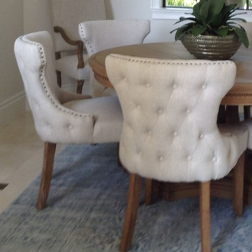 BEIGE TUFTED W/ NAILHEADS DINING CHAIR