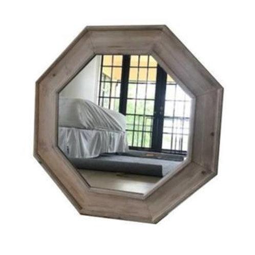 Wood Octagon Mirror