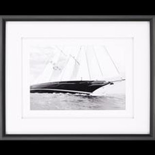 BLACK AND WHITE SAILBOAT FRAMED ART