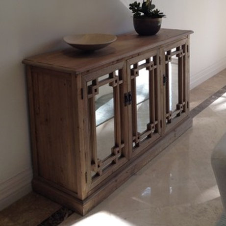 WOOD & MIRRORS CONSOLE TABLE