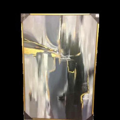 Gray Gold Abstract Art