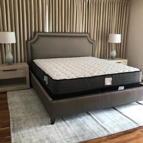 Gray Nailhead Upholstered King Bed