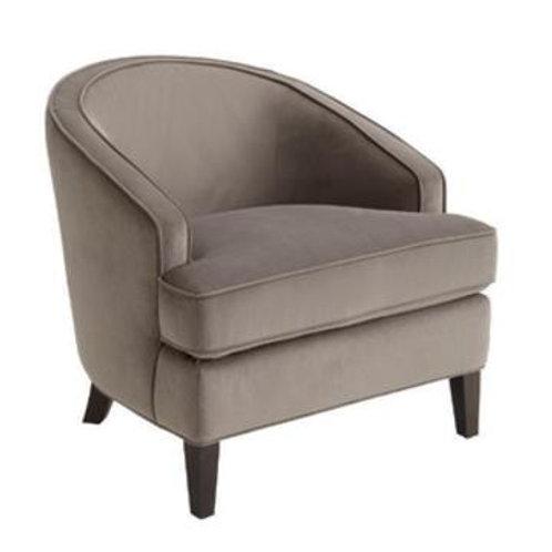 Gray Velvet Barrel Back Armchair Set of 2