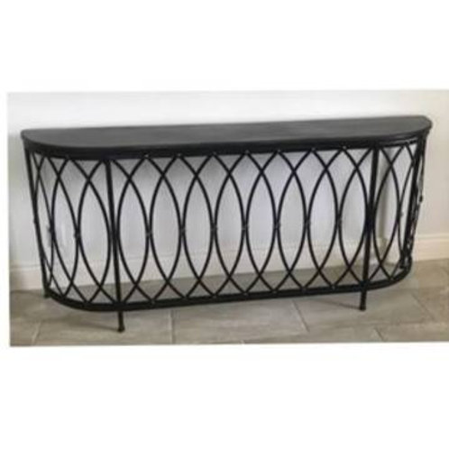 BLACK METAL DEMILUNE CONSOLE TABLE