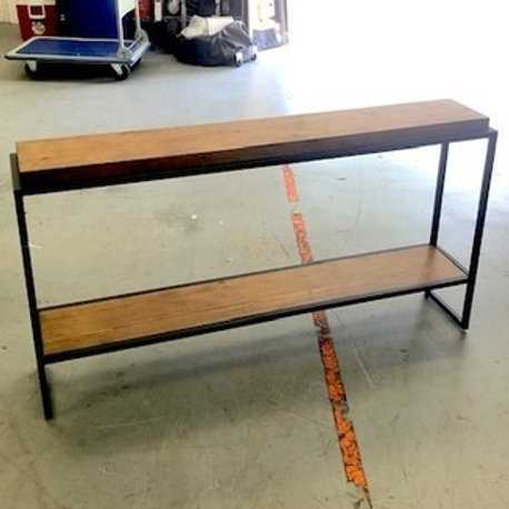 WOOD W/ BLACK CONSOLE TABLE