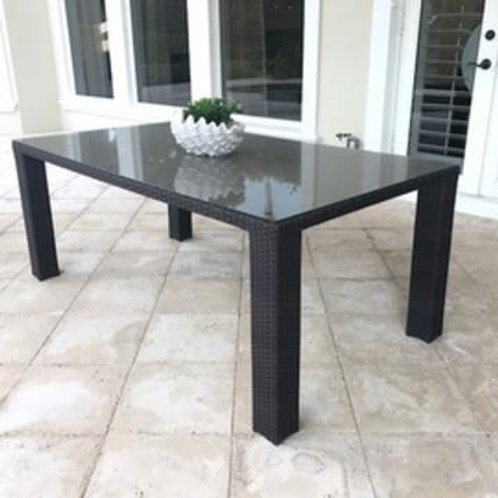 Brown Wicker Outdoor Dining Table