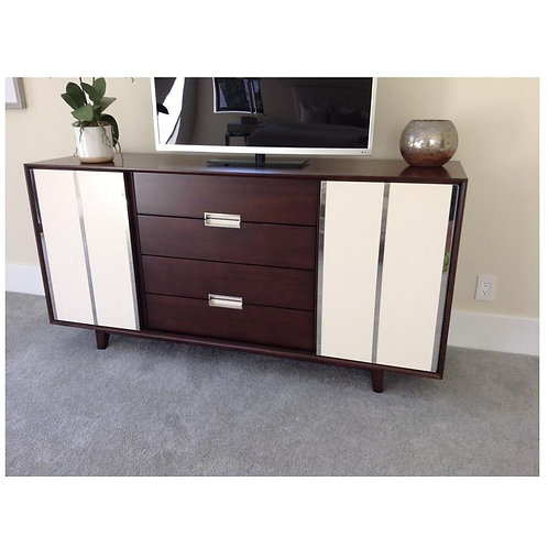 WOOD W/ WHITE DOORS CONSOLE