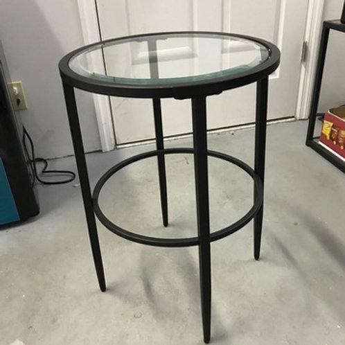 BLACK W/ GLASS RUND ACCENT TABLE