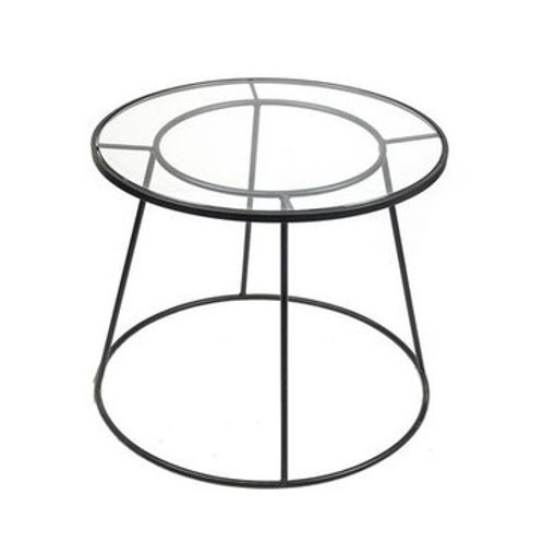BLACK W/GLASS ROUND ACCENT TABLE