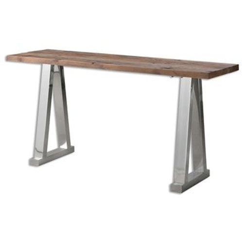 WOOD W/ SILVER CONSOLE TABLE
