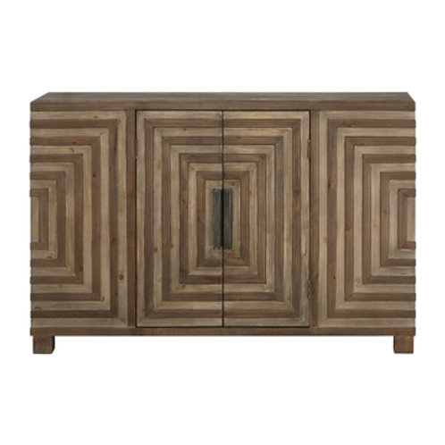 WOOD GEOMETRIC PATTERN CONSOLE