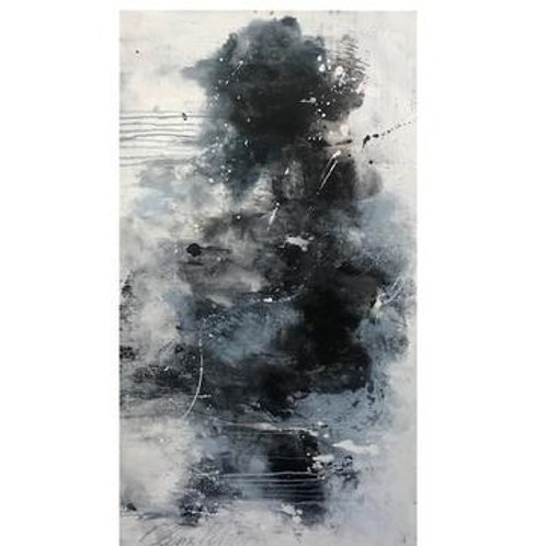 Blue and Black Abstract Canvas Art