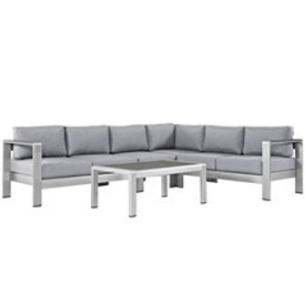 Silver Outdoor Sectional w/ Coffee Table