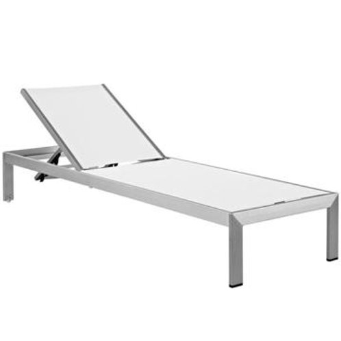 White Mesh Outdoor Chaise Set of 2