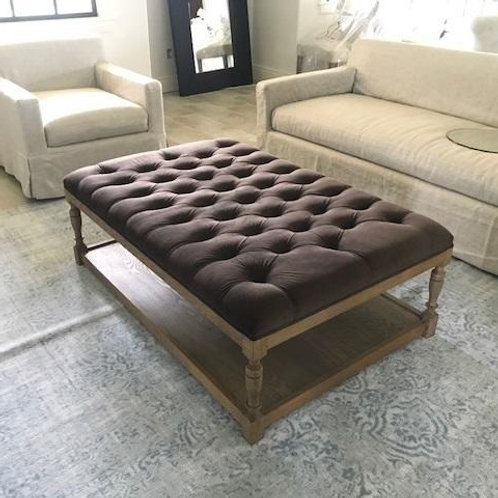 BROWN TUFTED COFFEE TABLE