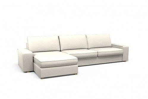 WHITE SLIPCOVER CHAISE SECTIONAL