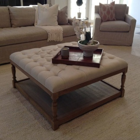 Beige Tufted Coffee Table