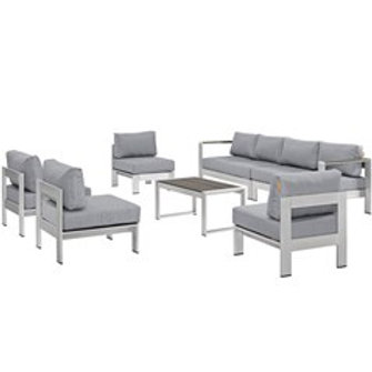 Silver Sofa & 2 Chairs w/ Coffee Table