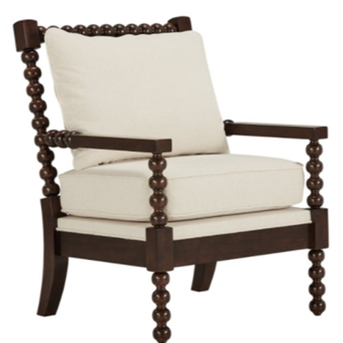 WHITE SPINDLE ACCENT CHAIR