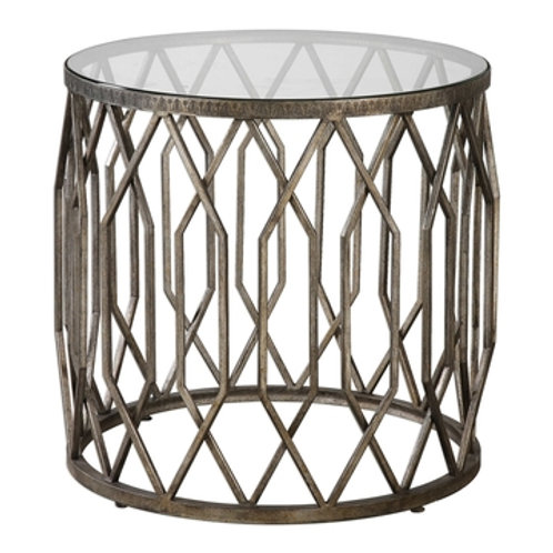 AGED BRONZE DRUM ACCENT TABLE S/2