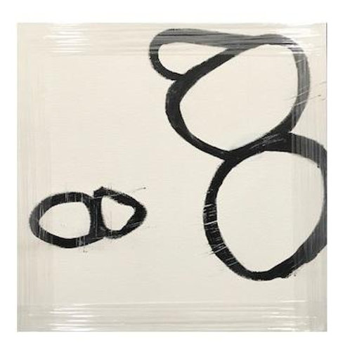 BLACK AND WHITE CIRCLES CANVAS ART
