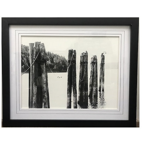 B&W LAKE POLES FRAMED ART