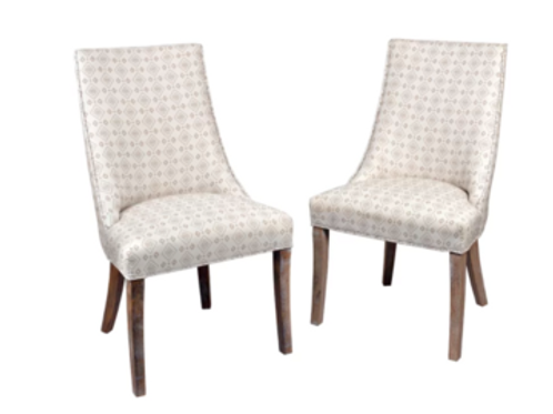 WHITE DIAMOND PATTERN SLOPE ARM CHAIR