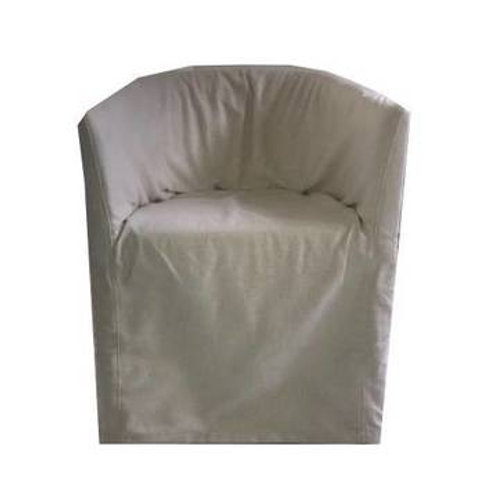 RESTORATION HARDWARE WHITE BARREL BACK DINING CHAIR