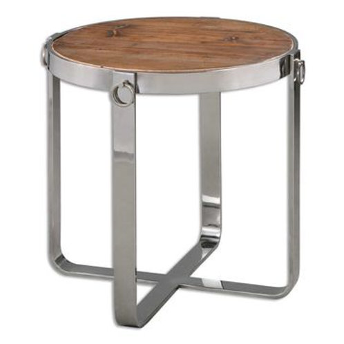 WOOD W/ SILVER ROUND ACCENT TABLE