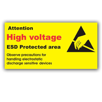 Attention High Voltage ESD Protected Area (E023)