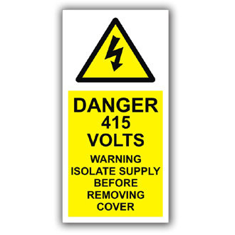 Danger 415 Volts Isolate Supply (D012)